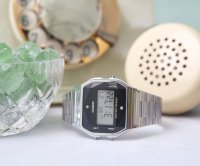 zegarek Casio Vintage A158WEAD-1EF kwarcowy damski VINTAGE Midi BLACK AND SILVER WITH DIAMOND LIMITED