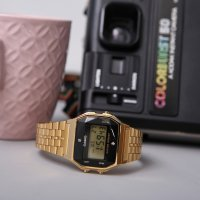 Casio Vintage A159WGED-1EF BLACK AND GOLD WITH DIAMOND LIMITED VINTAGE Midi elegancki zegarek czarny