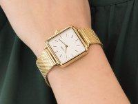 Zegarek damski klasyczny Cluse La Tetragone CL60002 Gold Mesh/White szkło mineralne - duże 6