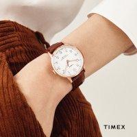 Timex TW2R72500 zegarek różowe złoto klasyczny Waterbury pasek
