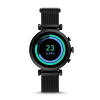 zegarek Fossil Smartwatch FTW6050 kwarcowy damski Fossil Q Gen 4 Smartwatch Sloan HR Black Stainless Steel Mesh