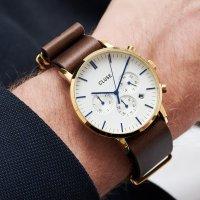 zegarek Cluse CW0101502009 Aravis chrono nato leather gold white/dark brown męski z chronograf Aravis