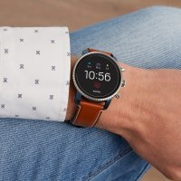 Fossil Smartwatch FTW4016 Fossil Q Gen 4 Smartwatch - Explorist HR Tan Leather zegarek męski fashion/modowy mineralne