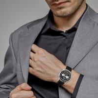 Jacques Lemans 1-2068A zegarek srebrny klasyczny Retro Classic pasek