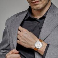 Jacques Lemans 1-2068P zegarek srebrny klasyczny Retro Classic pasek
