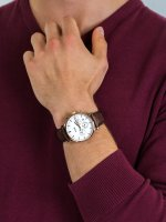 zegarek Cluse CW0101502002 Aravis chrono leather rose gold white/dark brown męski z chronograf Aravis