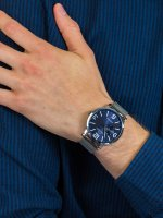 Zegarek srebrny klasyczny Bisset Klasyczne BSDE72SMDX03AX bransoleta - duże 5