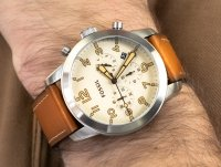 Zegarek srebrny klasyczny Fossil Pilot 54 FS5144 pasek - duże 6