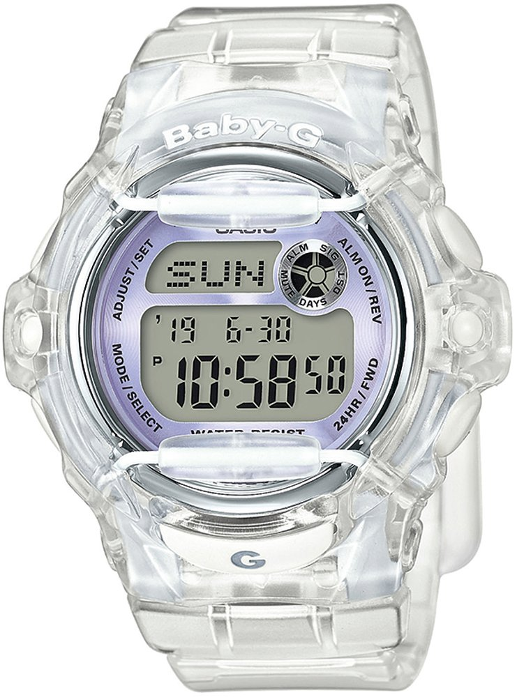 Interesujący, damski zegarek Baby-G BG-169R-7EER na pasku z kopertą wykonanych z tworzywa sztucznego w bezbarwnym kolorze.