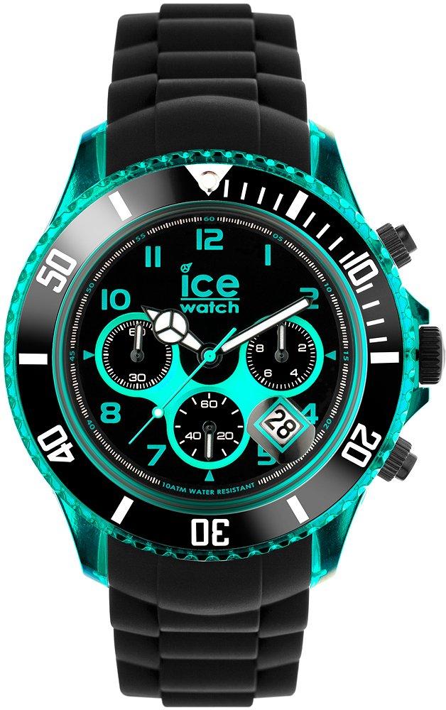 Sportowy, męski zegarek Ice Watch CH.KTE.BB.S.12 Ice-Chrono Electrik Black-Turquoise Big Big na pasku i kopercie wykonanych z tworzywa sztucznego w czarnym kolorze. Analogowa tarcza zegarka jest w czarnym kolorze z elektryzująco niebieskimi indeksami oraz detalami. Wskazówki zegarka są białe.