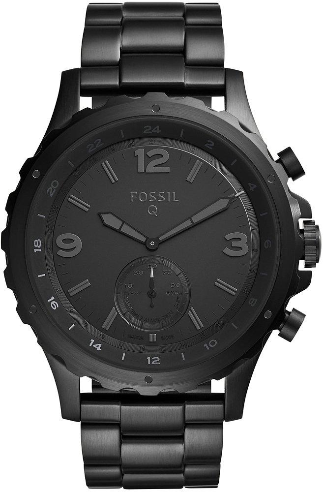 Młodzieżowy, męski smartwatch Fossil Q FTW1115 Q Nate Hybrid na czarnej, stalowej bransolecie w klasycznym stylu. Koperta zegarka Fossil Q jest czarna wykonana ze stali. Analogowa tarcza zegarka jest cała czarna łącznie z indeksami, wskazówkami oraz subtarczą na godzinie 6.