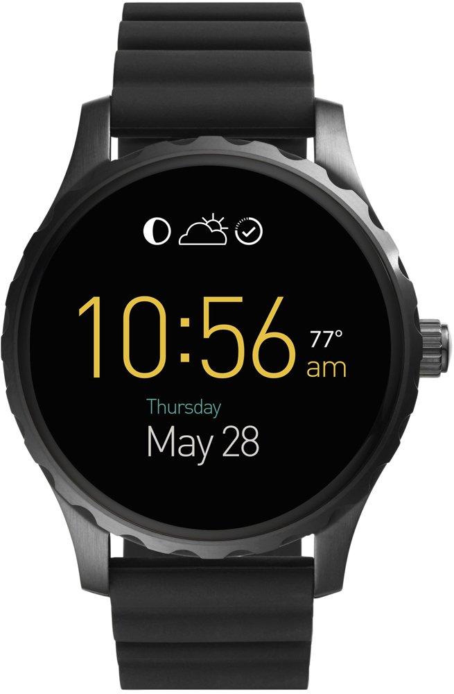 Męski zegarek w stylu fashion marki Fossil na kauczukowym pasku w czarnym kolorze. Okrągła koperta jest w czarnym kolorze ze stali. Tarcza jest cyfrowa z ekranem dotykowym.