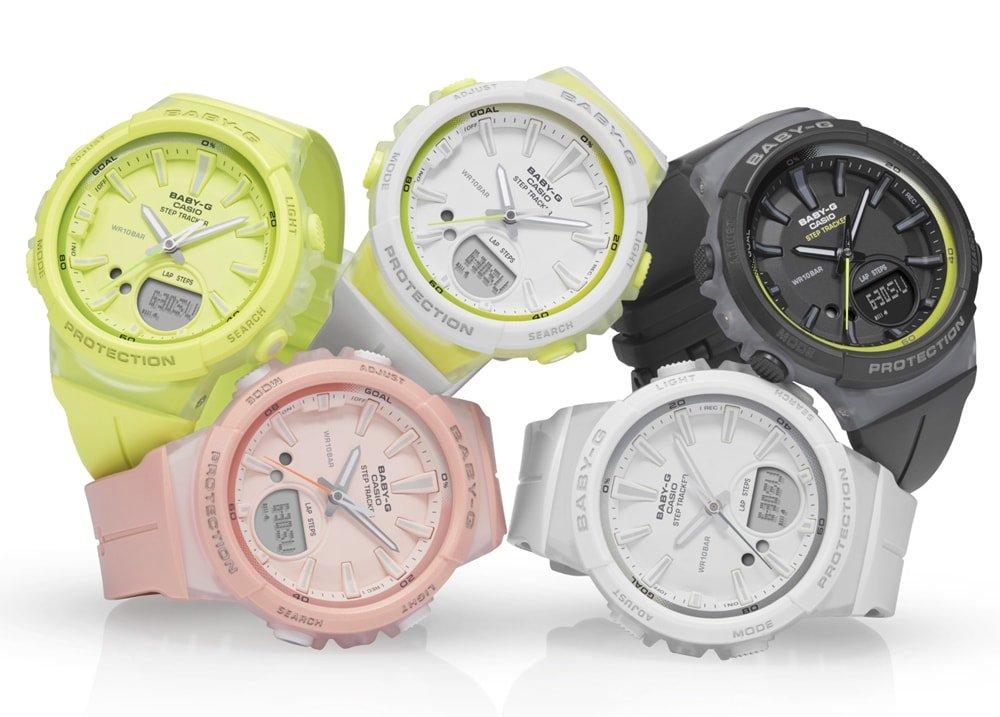 Kolorowa kolekcja damskich zegarków Casio Baby-G Step Tracker.