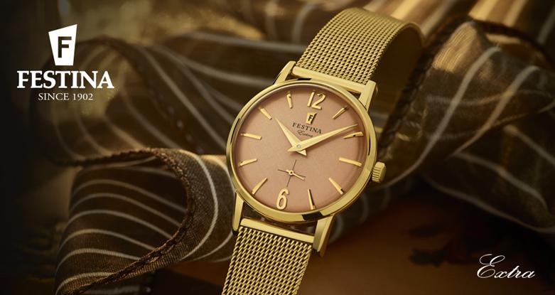 Modny, męski zegarek Festina Extra na złotej, stalowej bransolecie w stylu mesh. Okrągła koperta zegarka Festina jest wykonana ze stali w złotym kolorze. Analogowa tarcza zegarka jest w kolorze różowego złota z wskazówkami w złotym kolorze.