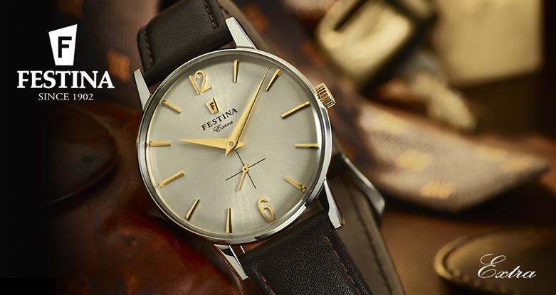 Klasyczny, męski zegarek Festina F20248-2 Extra na skórzanym brązowym pasku, srebrnej stalowej kopercie oraz tarczy w srebrnym kolorze. Indeksy oraz wskazówki zegarka są w złotym kolorze.