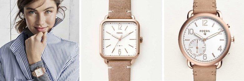 Klasyczne, damskie zegarki Fossil na skórzanych beżowych paskach z analogowymi białymi tarczami oraz kopertami i indeksami w kolorze różowego złota.