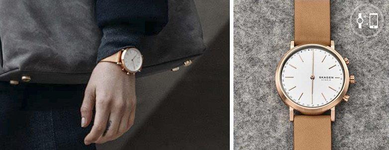 Modny, damski zegarek Skagen SKT1205 Hald na skórzanym, brązowym pasku oraz kopercie w kolorze różowego złota. Skromna analogowa tarcza jest w białym kolorze z indeksami w kolorze różowego złota, w postaci minimalistycznych kresek.