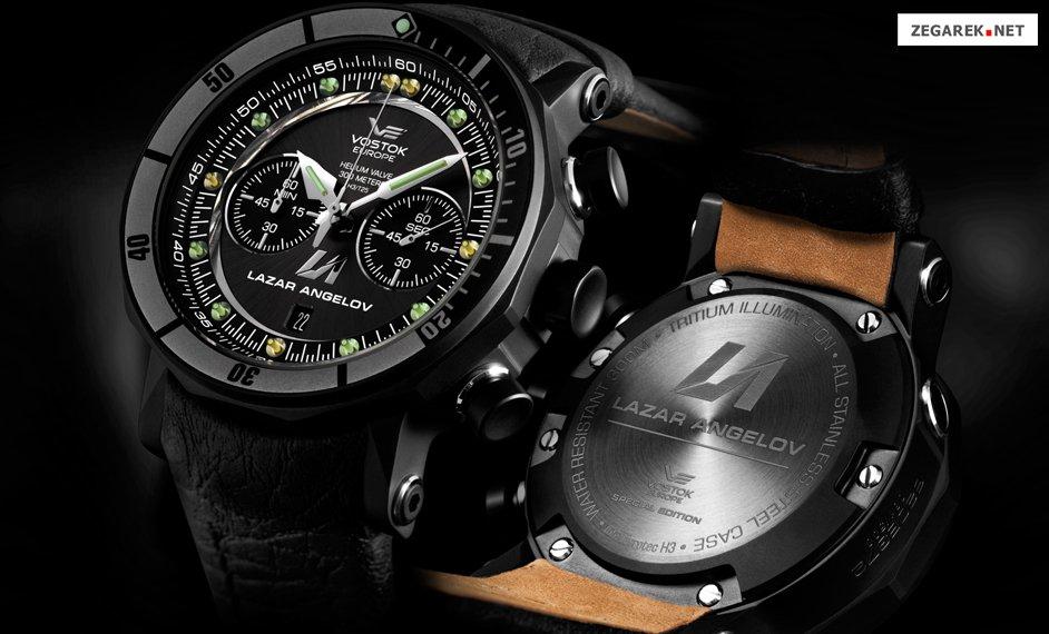 Sportowy, męski zegarek Vostok Europe 6S21-620E372 Lazar Angelov Limited Edition na skórzanym pasku w czarnym kolorze ze stalową, czarną kopertą. Analogowa tarcza zegarka jest w czarnym kolorze z subtarczami. wskazówki oraz indeksy są w srebrno-białym kolorze.