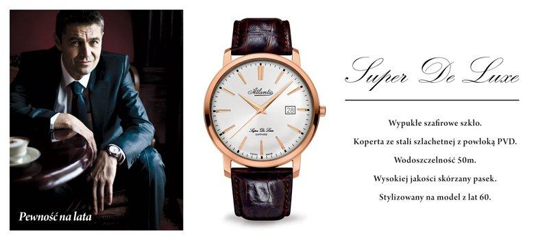 Klasyczny, męski zegarek Atlantic 64351.44.21 Super De Luxe na skórzanym brązowym pasku z stalową kopertą pokrytą PVD w kolorze różowego złota. Analogowa tarcza zegarka jest w białym kolorze z datownikiem oraz indeksami jak i wskazówkami w kolorze różowego złota.