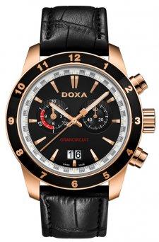 Klasyczny, męski zegarek Doxa 140.90.101.01 Grancircuit na pasku w czarnym kolorze wykonanym ze skóry z kopertą wykonaną ze stali w kolorze różowego złota. Bezel zegarka Doxa jest w czarnym kolorze. Analogowa tarcza zegarka jest w czarnym kolorze z dwiema subtarczami oraz datownikiem na godzinie szóstej. Indeksy jak i wskazówki są w kolorze różowego złota.