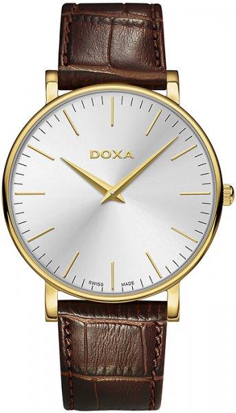 Klasyczny, męski zegarek Doxa 173.30.021.02 D-Light na skórzanym, brązowym pasku ze złotą koperta wykonaną z stali. Analogowa, minimalistyczna tarcza jest w srebrnym kolorze z złotymi wskazówkami oraz indeksami w postaci cieniutkich kresek.