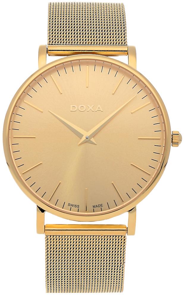 Elegancki, męski zegarek Doxa 173.30.301.11 D-Light na bransolecie z kopertą wykonanych ze stali w kolorze różowego złota. Analogowa tarcza zegarka jest minimalistyczna w kolorze różowego złota z napisem swiss made na godzinie szóstej. Wskazówki jak i indeksy są w kolorze różowego złota.