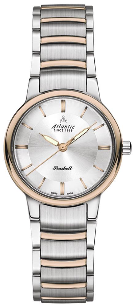 Elegancki, damski zegarek Atlantic 26355.43.21R Seashell na bransolecie wykonanej ze stali w kolorze różowego złota i srebra. Koperta zegarka jest wykonana ze stali oraz pokryta jest powłoka PVD w kolorze różowego złota oraz srebra. Tarcza zegarka jest srebrna z datownikiem na godzinie trzeciej. Wskazówki oraz indeksy są w kolorze różowego złota.