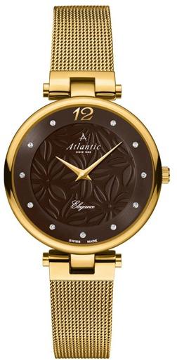 Elegancki, damski zegarek Atlantic 29037.45.81MB Elegance na bransolecie z kopertą wykonanych ze stali w złotym kolorze. Tarcza zegarka jest brązowa z wygrawerowanym wzorem kwiatów oraz ozdobiona cyrkoniami. wskazówki oraz godzina dwunasta na zegarku są w złotym kolorze.