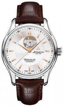 Elegancki, męski zegarek Atlantic 52757.41.21R Worldmaster 1888 Lusso Limited Edition na skórzanym brązowym pasku z okrągłą, srebrną koperta wykonaną ze stali. Analogowa tarcza jest w srebrnym kolorze w stylu open heart z wskazówkami w kolorze różowego złota.