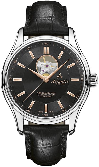 Luksusowy, męski zegarek Atlantic 52757.41.61R Worldmaster 1888 Lusso Limited Edition na skórzanym, czarnym pasku z okrągłą kopertą wykonaną ze stali w srebrnym kolorze. Tarcza zegarka jest w czarnym kolorze z open heart. Wskazówki jak i indeksy są w kolorze różowego złota.