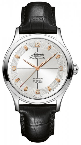 Elegancki, męski zegarek Atlantic 53654.41.25R Worldmaster The Original Mechanical Incabloc na czarnym skórzanym pasku z wzorem krokodylej skóry. Analogowa tarcza zegarka jest w srebrnym kolorze z giloszowanym kołem. Indeksy jak i wskazówki są w kolorze różowego złota.