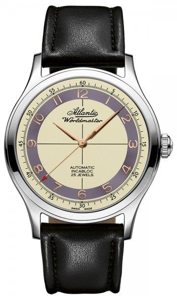 Klasyczny, męski zegarek  Atlantic 53754.41.93RB Worldmaster The Original Automatic Incabloc na skórzanym czarnym pasku z okrągłą kopertą ze stali w srebrnym kolorze. Analogowa tarcza zegarka jest w beżowym kolorze z fioletowym pierścieniem. wskazówki jak i indeksy zegarka są w kolorze różowego złota.