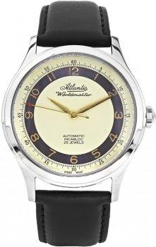 Luksusowy, męski zegarek Atlantic 53754.41.93R Worldmaster The Original Automatic Incabloc na skórzanym pasku z kopertą wykonaną ze staliw  srebrnym kolorze. Tarcza zegarka jest zółta z fioletowym okręgiem na którym są indeksy w złotym kolorze. Wskazówki zegarka są w złotym kolorze.