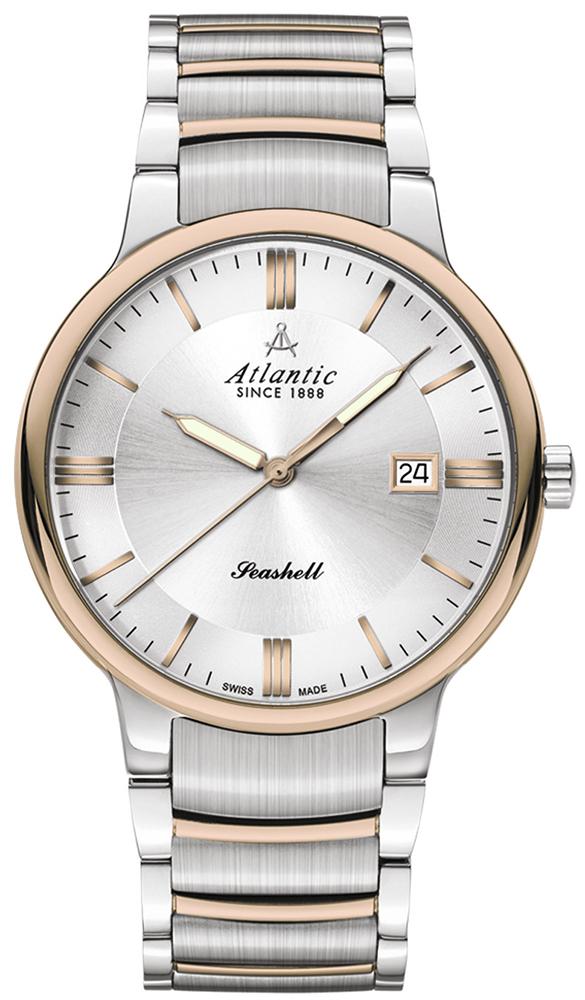 Luksusowy, męski zegarek Atlantic 66355.43.21R Seashell na bransolecie wykonanej ze stali w kolorze różowego złota i srebra. Koperta zegarka jest wykonana ze stali oraz pokryta jest powłoka PVD w kolorze różowego złota oraz srebra. Tarcza zegarka jest srebrna z datownikiem na godzinie trzeciej. Wskazówki oraz indeksy są w kolorze różowego złota.