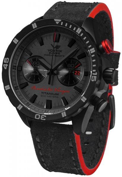 Luksusowy, męski zegarek Vostok Europe 6S21-320J390 Motorsport Benediktas Vanagas Titanium Black Edition na skórzanym czarnym pasku z czerwonymi akcentami z mechanizmem kwarcowym oraz tytanową kopertą pokrytą czarnym PVD.