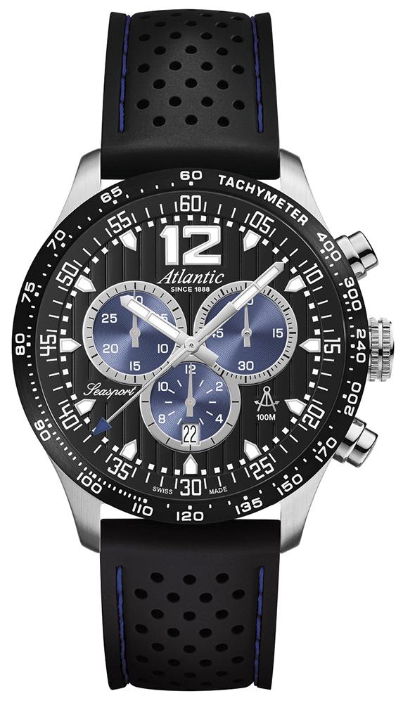 Luksusowy, męski zegarek Atlantic 87464.47.65B Seasport na czarnym pasku wykonanym z tworzywa sztucznego z okrągłą, stalową kopertą w srebrnym kolorze. Bezel zegarka jest czarny tak samo jak tarcza. Na analogowej tarczy znajdują się również subtarcze w niebieskim kolorze. Wskazówki jak i indeksy są w białym kolorze.