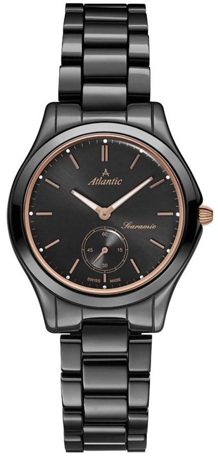 Szwajcarski, damski zegarek Atlantic 92346.64.61R Searamic na czarnej bransolecie wykonanej z ceramiki. Koperta zegarka Atlantic jest z tego samego materiały i koloru co bransoleta. Analogowa tarcza zegarka jest czarna z wskazówkami i indeksami w kolorze różowego złota.