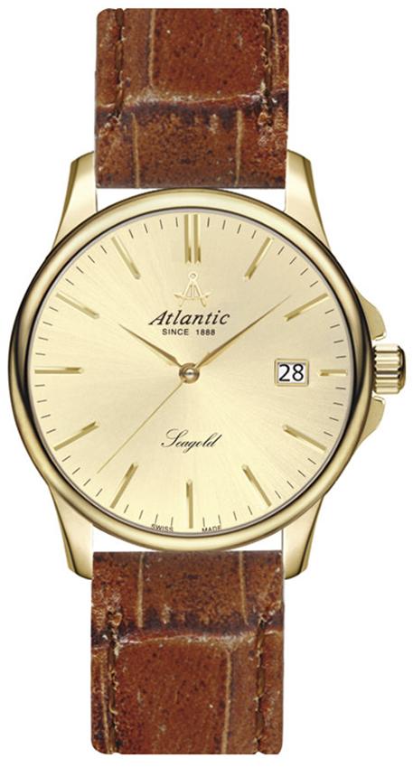 Klasyczny, męski zegarek Atlantic 95341.65.31 Seagold na skórzanym, brązowym pasku z złota koperta wykonana ze złota. Analogowa tarcza zegarka jest w złotym kolorze z złotymi indeksami jak i wskazówkami z datownikiem na godzinie trzeciej.
