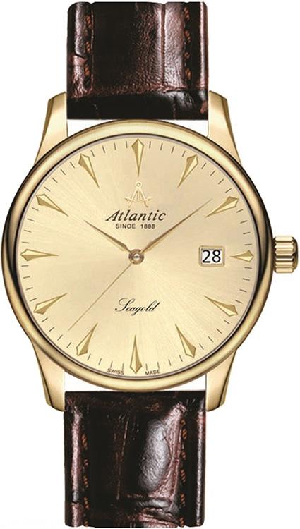 Klasyczny, męski zegarek Atlantic 95343.65.31 Seagold na skórzanym pasku w brązowym kolorze z kopertą zrobioną ze złota. Tarcza jest z tego samego materiały co koperta. Na analogowej tarczy widnieje datownik pokazujący dzień miesiąca. Wskazówki jak i indeksy są w kolorze złota.