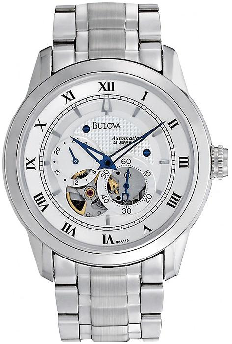 Luksusowy, męski zegarek Bulova 96A118 Automatic na bransolecie i kopercie wykonanych ze stali w srebrnym kolorze. Tarcza zegarka Bulova jest srebrna z open heart oraz dwiema subtarczami. Wskazówki są w kolorze ciemnego granatu.