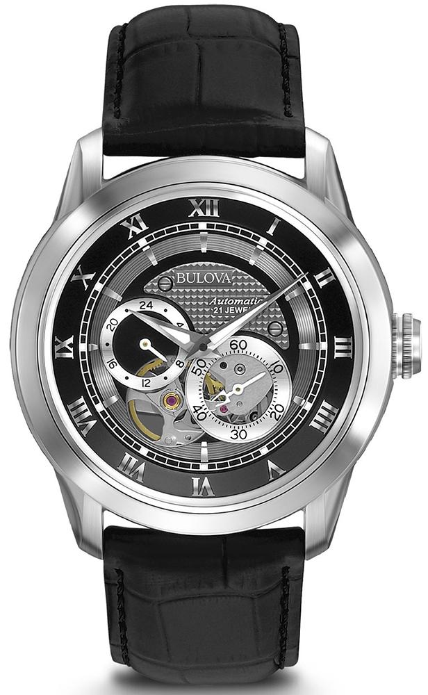 Elegancki, męski zegarek Bulova 96A135 Automatic na skórzanym, czarnym pasku z srebrną kopertą wykonaną ze stali. Tarcza zegarka jest srebrno-czarna z open heart. Wskazówki jak i indeksy są srebrne.