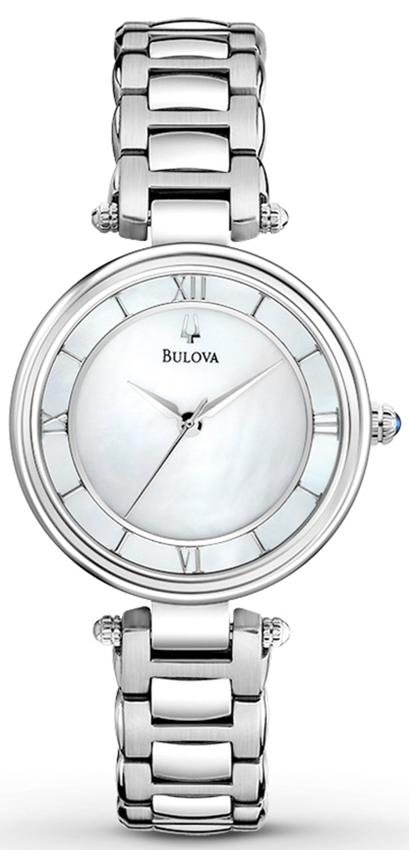 Biżuteryjny, damski zegarek Bulova 96L185 Classic z koperta oraz bransoleta wykonana ze stali w srebrnym kolorze. tarcza zegarka jest wykonana z masy perłowej a indeksy oraz wskazówki są srebrne.