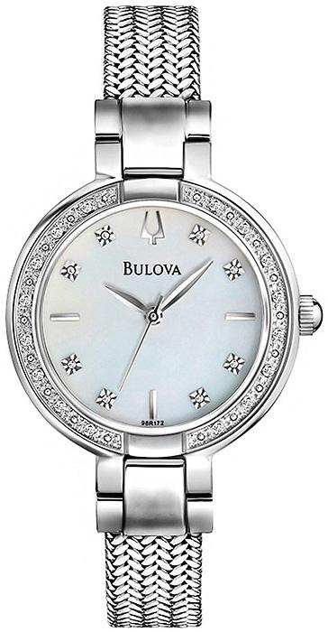 Klasyczny, damski zegarek Bulova 96R177 Diamond na bransolecie typu mesh w srebrnym kolorze wykonanej ze stali. Koperta zegarka jest wykonana ze stali w srebrnym kolorze. Tarcza zegarka jest wykonana z masy perłowej z diamentami a wskazówki są w srebrnym kolorze.