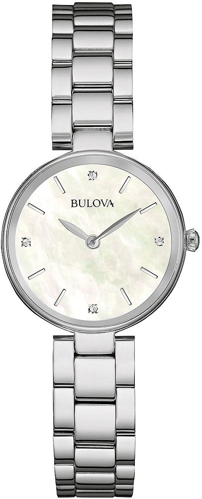 Elegancki, damski zegarek Bulova 96S159 Diamond na srebrnej bransolecie oraz kopercie wykonanych ze stali. Tarcza zegarka jest z masy perłowej z diamentami.