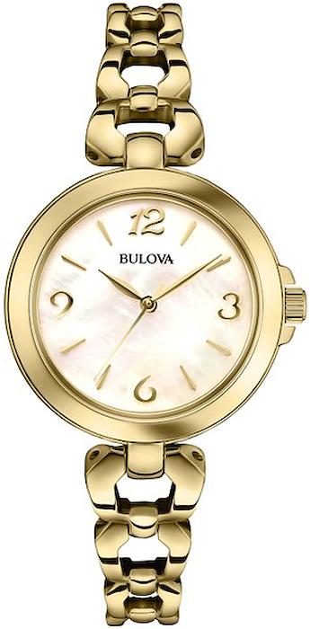 Elegancki, damski zegarek Bulova 97L138 Classic na stalowej bransolecie pokrytej PVD w złotym kolorze. Koperta jest w tym samym kolorze jak i z tego samego materiału co bransoleta a tarcza zegarka jest wykonana z masy perłowej. Wskazówki oraz indeksy są w złotym kolorze.