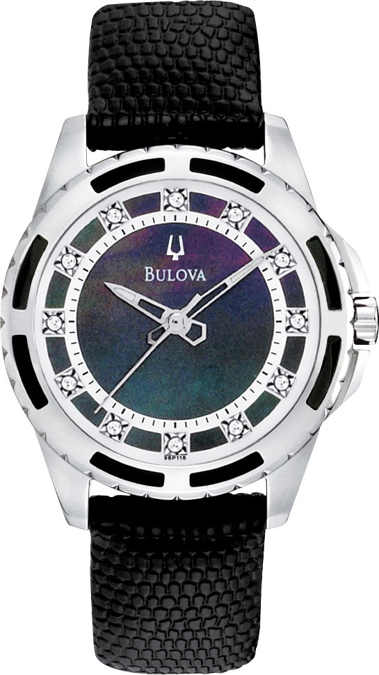 Elegancki, damski zegarek Bulova 98P118 Diamond na skórzanym pasku w czarnym kolorze z kopertą wykonaną ze stali. Tarcza zegarka jest czarna z diamentami a wskazówki są w kolorze srebrnym.