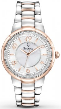 Klasyczny, damski zegarek Bulova 98R162 Diamond na bransolecie z kopertą wykonaną ze stali z powłoką PVD w srebrnym jak i różowym kolorze. Tarcza zegarka jest biała, ozdobiona diamentami. Wskazówki jak i indeksy są w kolorze różowego złota.