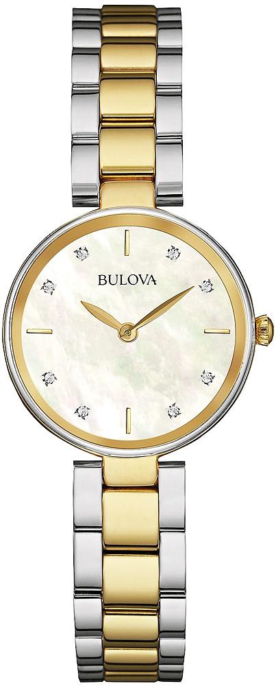 Elegancki, damski zegarek Bulova 98S146 Diamond na bransolecie z kopertą wykonanych ze stali w kolorze srebrnym jak i złotym. Analogowa tarcza jest z masy perłowej, z diamentami. Wskazówki jak i kilka indeksów są w kolorze złotym.
