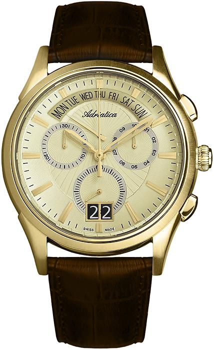 Klasyczny, męski zegarek Adriatica A1193.1211CH na skórzanym pasku w brązowym kolorze z stalową kopertą w złotym kolorze. Tarcza zegarka jest w złotym kolorze z trzema subtarczami oraz datownikiem pokazujący dzień miesiąca jak i tygodnia. Wskazówki jak i indeksy są w złotym kolorze w postaci kresek.