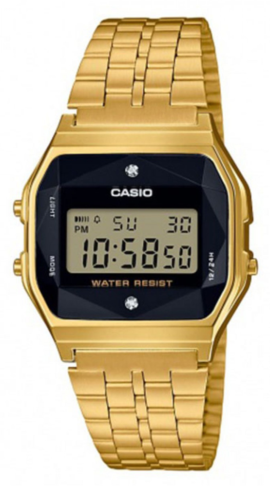 Casio Vintage A159WGED-1EF VINTAGE Midi BLACK AND GOLD WITH DIAMOND LIMITED